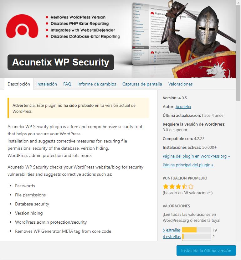 plugin ACUNETIX, prevenir ataques informáticos